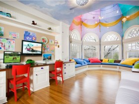 A large, modern children's room for boy