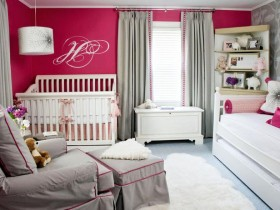 The interior of a child's bedroom for a newborn