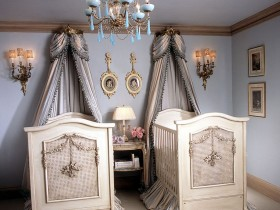 The interior of the nursery for newborn twins