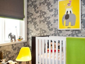 The interior design of the nursery for the newborn