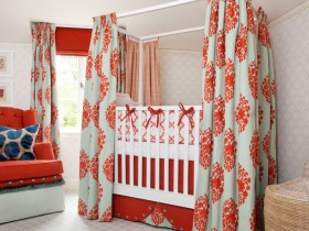 The color combination in the interior of the nursery