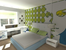 The stylish interior of the nursery for a teenager