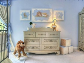 The dresser in the nursery for girls