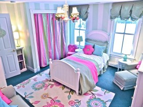 Children's room for girls with elements of Provence style