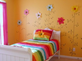 Flower wall in baby room for girls