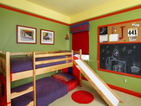 Children's bed with slide