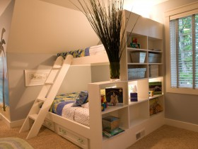 Children's bed for two with shelf