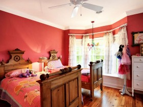 Bright kids room for two girls