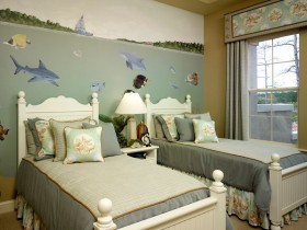 Children's room for two children in a marine style
