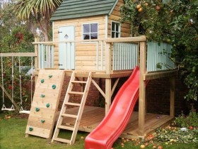 Children's Playground with slide and house
