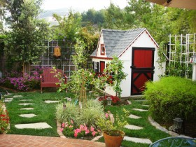 The design of the garden with children's Playhouse