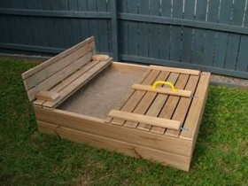 The design of the sandbox in the garden