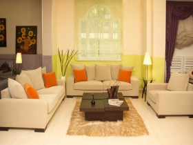 Bright living room with creative furnishings