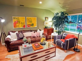 Bright living room with elements of kitsch
