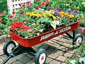 A flower bed of a garden cart