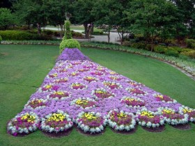Luxurious flowerbed in the garden
