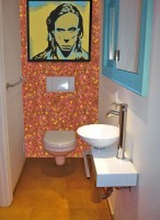 The bathroom in the style of pop art