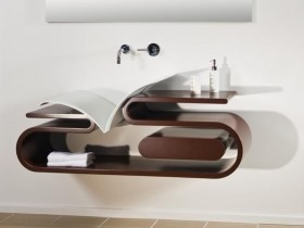 The idea of the design of the suspended sinks with shelf