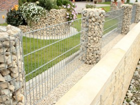 Metal fence with columns-gabion