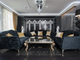 Luxury living room black color with white ceiling