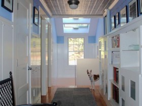 Entrance hall with blue walls and a black ceiling in private house