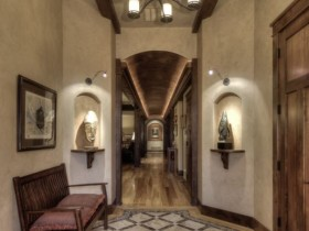 The stylish interior of a long hallway