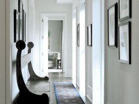 A long white hallway in a private house