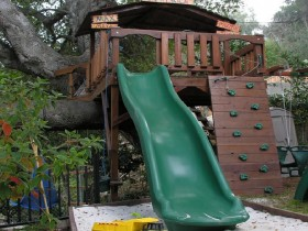 Play area with children's tree house