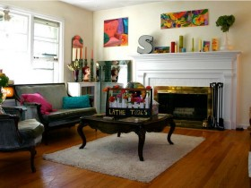 Living room with fireplace in eclectic style