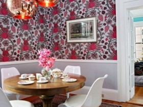 The interior of dining room in eclectic style