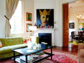 The original living room in eclectic style