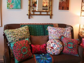 Pillows in eclectic style