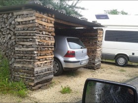 Garage with wooden bars