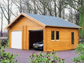 Wooden garage for two cars
