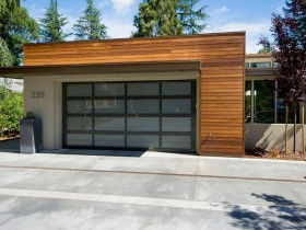 Wooden garage gate with glass, modern style