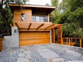 Wooden garage with trellis