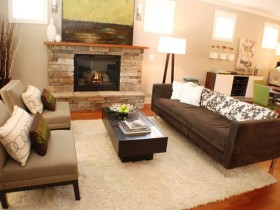 Design small living room with fireplace