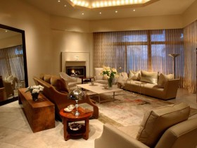 Decoration large living room with fireplace