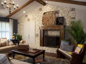 Original living room design with fireplace
