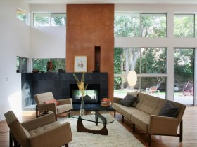 Living room with fireplace in the style of modernism