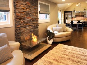 A fireplace in the style of hi-tech