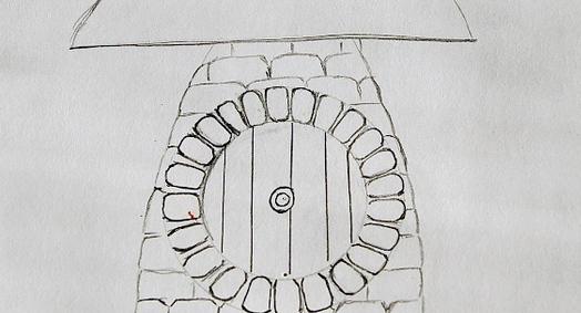 Эскиз садовой фигурки - гипсового гриба
