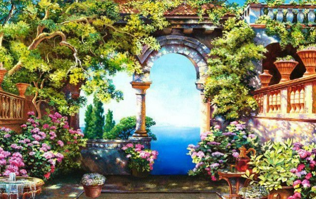Настенная живопись в саду