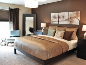Bedroom interior in brown