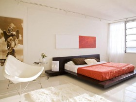 Spacious modern bedroom light shade red red and black bed