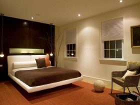 Bedroom interior in brown shades