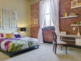 The idea of the bedroom design in loft style