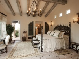 Bedroom with elements of Gothic and Romanesque architecture