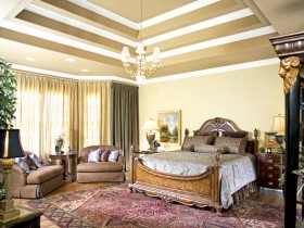 Large bright bedroom in classical style
