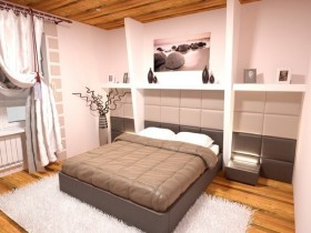 White bedroom with wooden floor and ceiling finishing